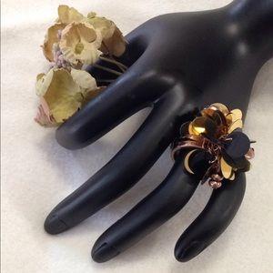 Statement Dangle Ring Sequins gold bronze tone sz8